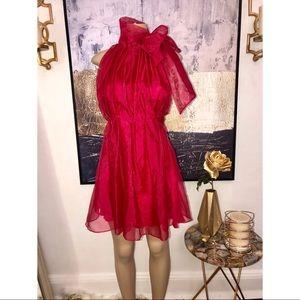 Zara Chiffon Red Skater Dress